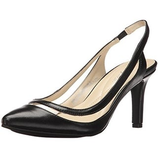 Andrew Geller Womens Terie Slingback Heels Faux Leather Pointed Toe