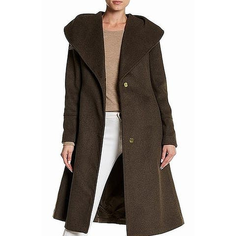 Cole Haan Women's Coat Chocolate Brown Size 2 Trench Wool Belted