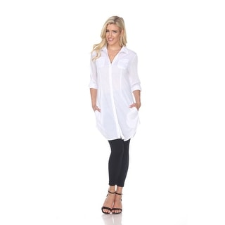 Link to Lakota Stretchy Button-Down Tunic - White Similar Items in Tops