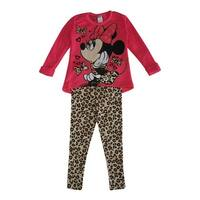 Disney Little Girls Pink Tan Minnie Bow Leopard Print 2 Pc Pant Set