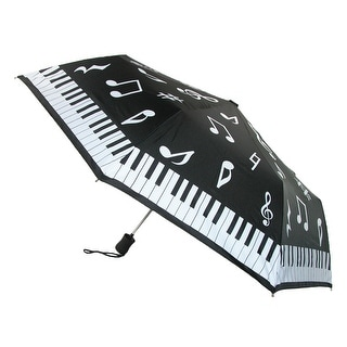 Leighton Kids' Musical Notes & Piano Key Print Auto Open Compact Umbrella - Black - One Size