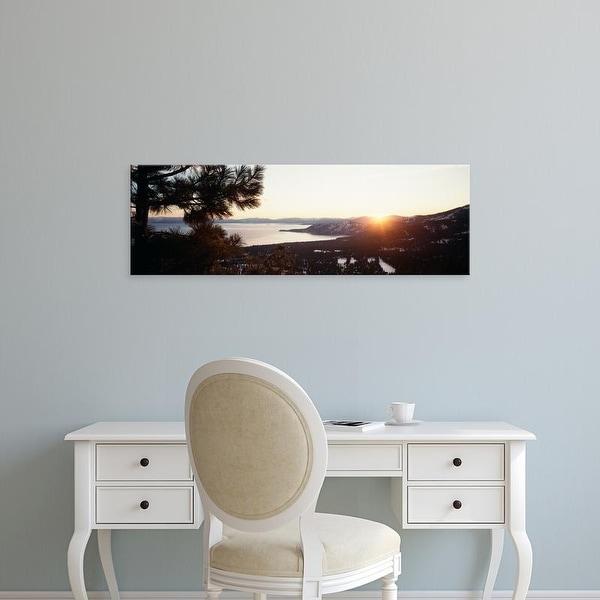 Easy Art Prints Panoramic Image 'Sunrise over mountain, Lake Tahoe, Californian Sierra Nevada, California' Canvas Art