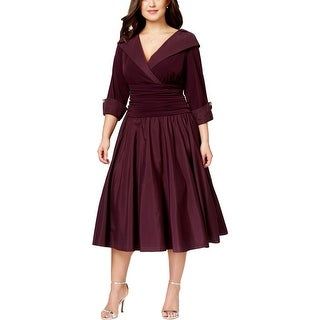 Jessica Howard Womens Plus Evening Dress Surplice 3/4 Sleeves