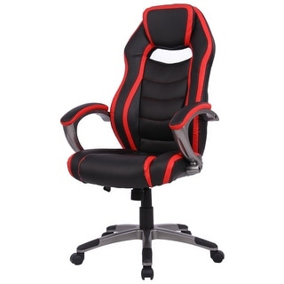 Gymax Gaming Chair Racing Car Style High Back Office Chair Bucket Seat - Red and Black
