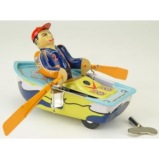 "Vintage Style 4.75"" Tin Man In Row Boat - Multi"
