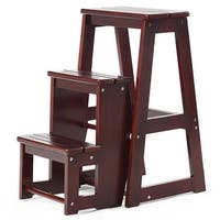 Folding Multi-functional 3-tier Ladder Wood Step Stool-Coffee