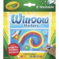 Crayola Standard Non-Toxic Washable Window Marker, 1/2 in Extra-Wide Tip, Assorted Vibrant Colors, Pack of 8
