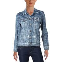 Lucky Brand Womens Denim Jacket Denim Printed