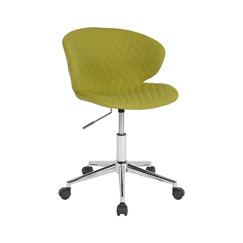 Offex Home and Office Adjustable Height Upholstered Mid Back Chair in Citrus Green Fabric