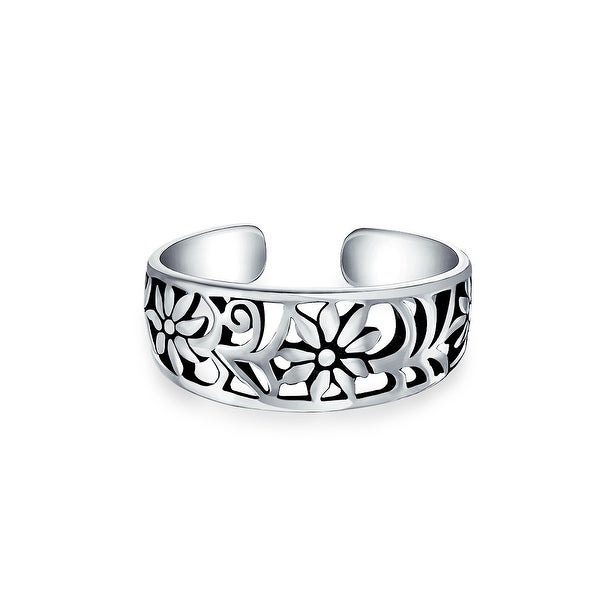 65e25094b4 Flowers Craved Swirl Cut Out Filigree Midi Band Toe Ring 925 Silver  Sterling Mid Finger Adjustable