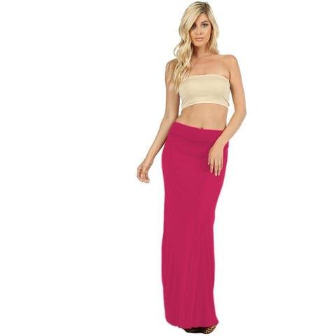 NioBe Clothing Womens Solid Long Casual Maxi Skirt