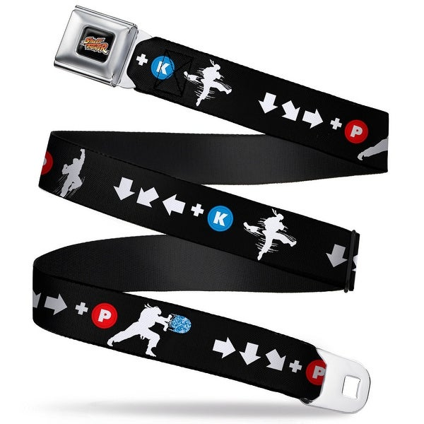 Street Fighter Retro Logo Full Color Black Ryu Silhouette Moves Black White Seatbelt Belt