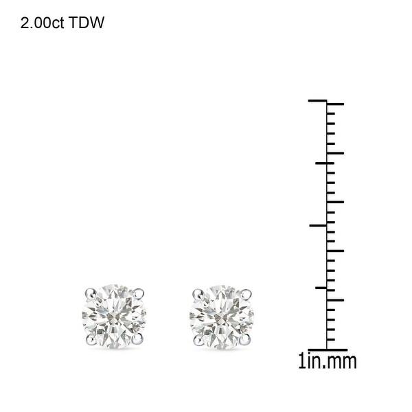 Auriya 14k Gold 1ct to 3ctw Round Clarity-enhanced Diamond Stud Earrings