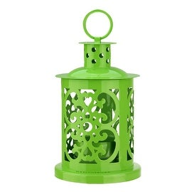 "5.5"" Shiny Lime Green Mini Votive or Tealight Candle Holder Lantern with Dot and Scroll Cutouts"