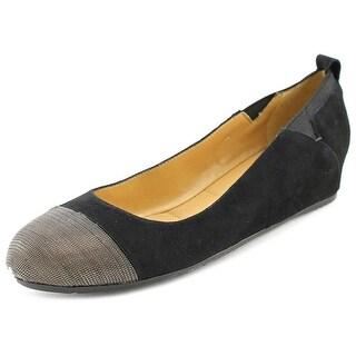 Vaneli Ardelia Women Open Toe Suede Black Wedge Heel