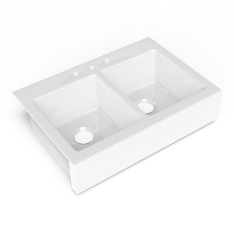 Parker QuickFit Drop-in Farmhouse Fireclay 33.85 in. 3-Hole Double Bowl Kitchen Sink in Crisp White