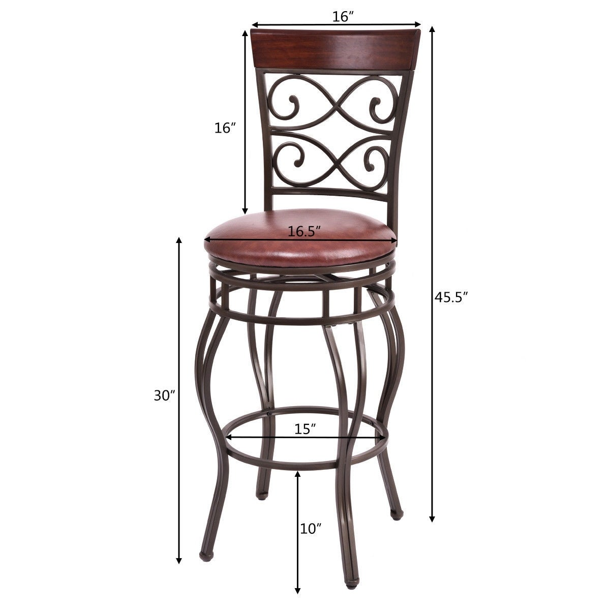 Admirable Costway Set Of 2 Vintage Bar Stools Swivel Padded Seat Bistro Dining Kitchen Pub Chair As Pic Andrewgaddart Wooden Chair Designs For Living Room Andrewgaddartcom