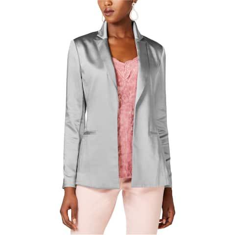 I-N-C Womens Satin Blazer Jacket, Grey, XX-Large
