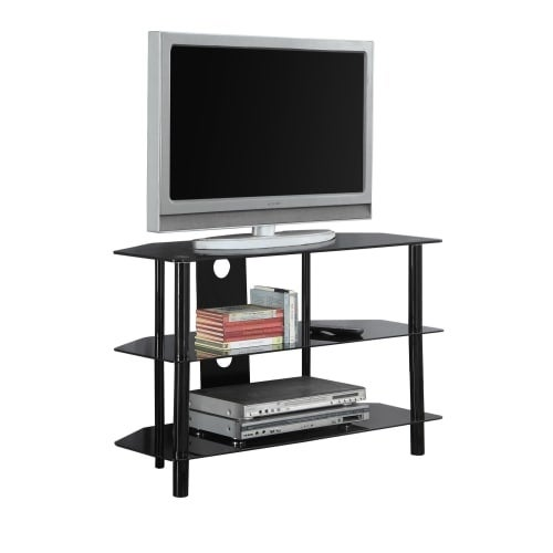 Monarch Specialties I 2506 36 Inch Wide Metal TV Stand With Tempered Glass  Top