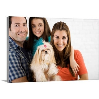 """Family with a dog"" Canvas Wall Art"