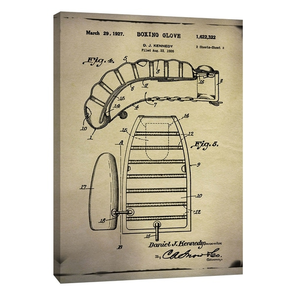 """PTM Images 9-108985 PTM Canvas Collection 10"""" x 8"""" - """"Boxing Glove Patent 2 Buff"""" Giclee Boxing Art Print on Canvas"""
