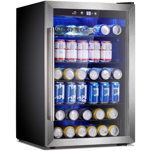 Beverage Refrigerator Cooler-145 Can Mini Fridge Clear Front. Opens flyout.