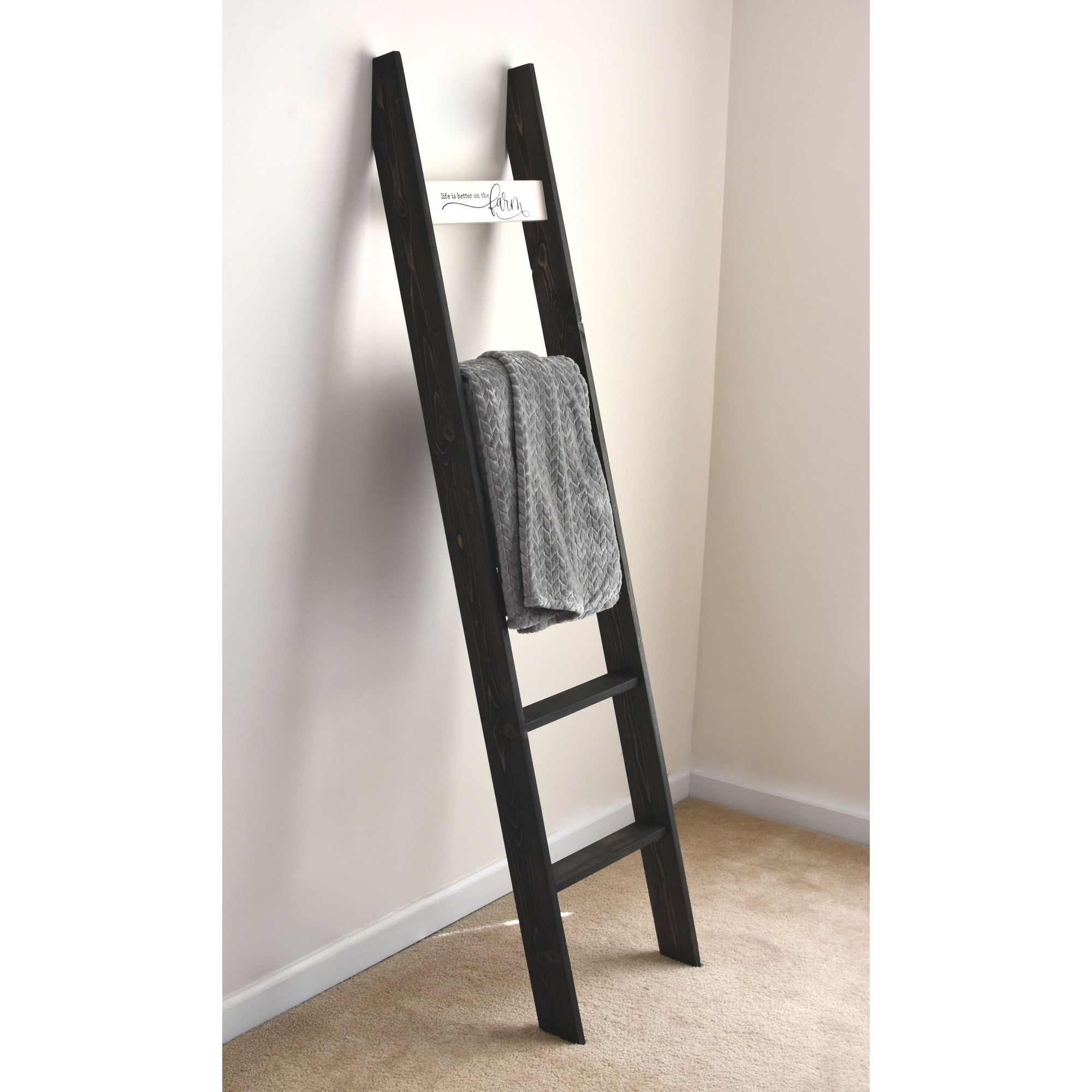20ft Country Chic Blanket Ladder with Farmhouse Sign 'Life is Better on the  Farm'   Black   20 x 20 x 20