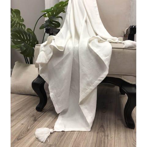 Beige Linen Throw Blanket-Tassel