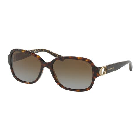 Coach Rectangle HC8241F Women DARK TORTOISE Frame BROWN GRADIENT POLAR Lens Sunglasses