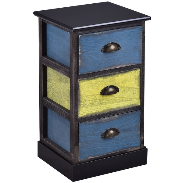 Shop Costway Stylish Wood Bedside Table Nightstand Cabinet