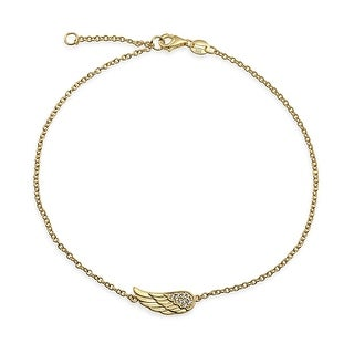 Gold Plated CZ Angel Wing Feather Anklet 925 Silver 9in