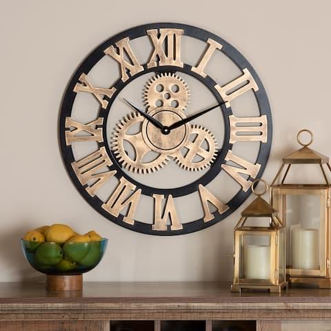 Randolph Industrial Vintage Style Wood Wall Clock