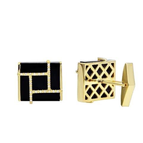 Mens Onyx & Diamond Cufflinks 0.2ctw in 14k Gold by Luxurman