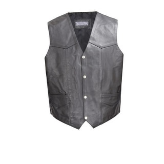 Men Cowhide Leather Motorcycle Biker Classic Western Style Vest Black MBV101