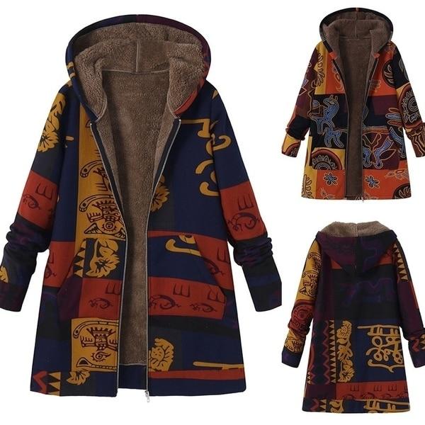 Women Hooded Long Sleeve Fluffy Fur Fleece Zipper Coat