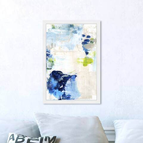 Oliver Gal 'Perks' Abstract Framed Wall Art Prints Paint - Blue, White