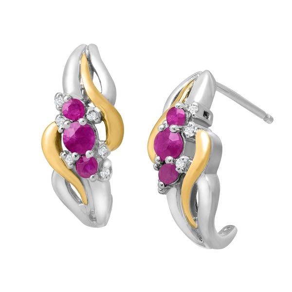 1/2 ct Ruby Half-Hoop Drop Earrings with Diamonds in Sterling Silver & 14K Yellow Gold