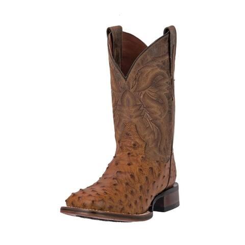 "Dan Post Western Boots Mens 11"" Cowboy Alamosa Ostrich Saddle"