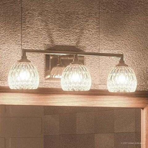 "Luxury Crystal LED Bathroom Vanity Light, 6.25""H x 20""W, with Classic Style, Brushed Nickel Finish"
