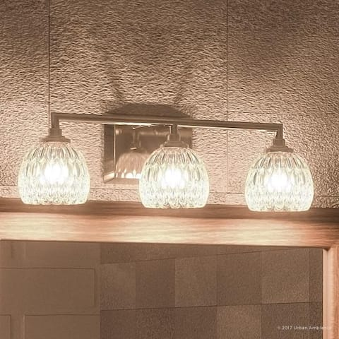 """Luxury Crystal Bathroom Vanity Light, 6.25""""H x 20""""W, with Classic Style, Brushed Nickel Finish - 20"""