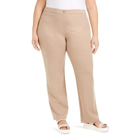 Eileen Fisher Womens Plus Straight Leg Pants Tencel Blend Full Length