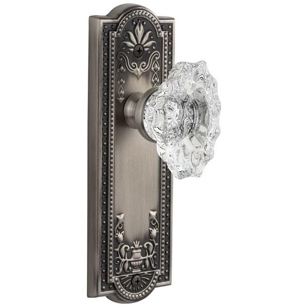 "Grandeur PARBIA_PSG_238 Parthenon Solid Brass Rose Passage Door Knob Set with Biarritz Crystal Knob and 2-3/8"" Backset"