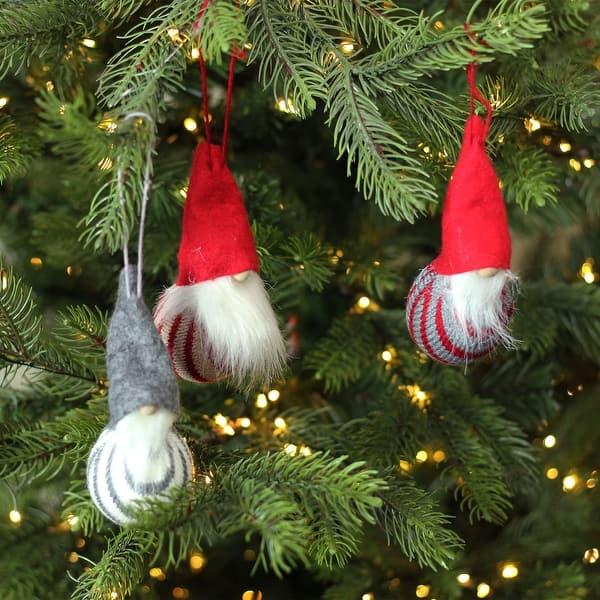 Shop Set Of 3 Red And Gray Santa Gnome Christmas Ornaments 4 75 On Sale Overstock 16551717