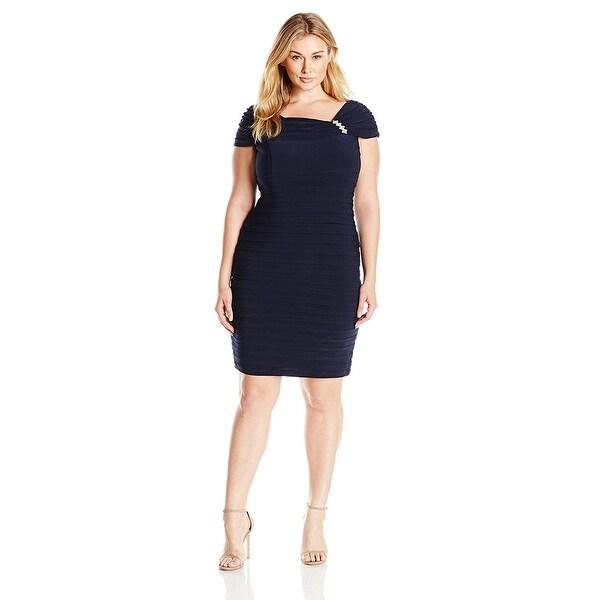 Shop Xscape Plus Size Embellished Shoulder Cocktail Dress Deep Navy