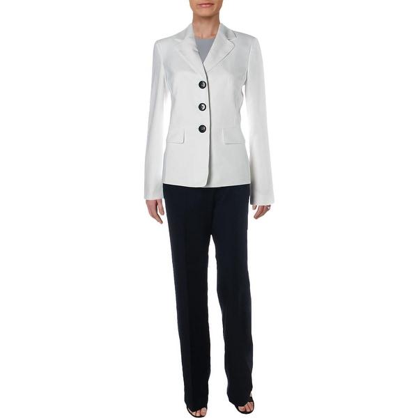 Le Suit Womens Pant Suit Textured Professional Wear