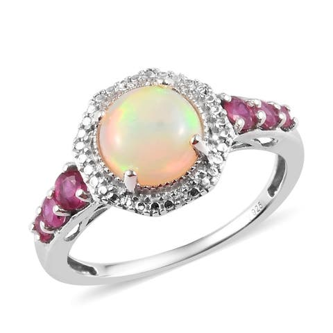 Shop LC Silver Opal Fissure Filled Ruby Halo Ring Bridal