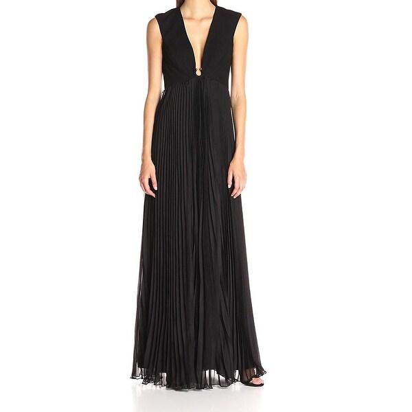 7be0098a122 Halston Heritage Black Chiffon Pleated Women  x27 s Size 8 Gown Dress