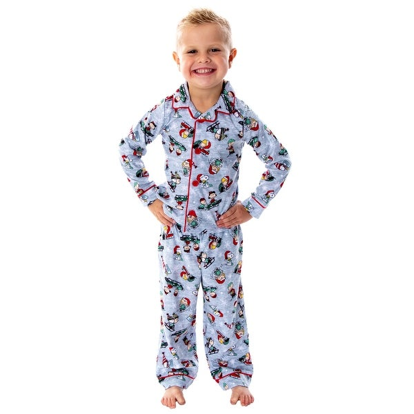 Peanuts Toddler Boys' Snoopy And Charlie Brown Holiday Woven Button-Up Coat And Pants 2 Piece Pajama Set. Opens flyout.