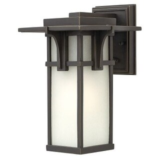 """Hinkley Lighting 2230 11.75"""" Height 1 Light Lantern Outdoor Wall Sconce with Etched Seedy Shade from the Manhattan Collection"""