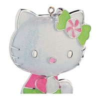 Carlton Cards Heirloom Pink and Green Glitter Hello Kitty Christmas Ornament - WHITE